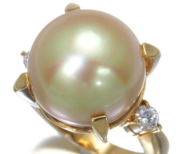 TASAKI タサキ リング 白蝶真珠 ゴールデンパール 14mm珠 ダイヤモンド 0.23ct K18YG