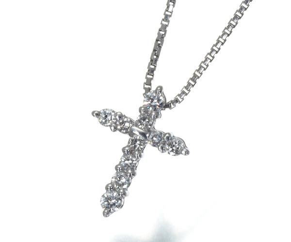 TASAKI タサキ ネックレス ダイヤモンド 0.14ct クロス K14WG