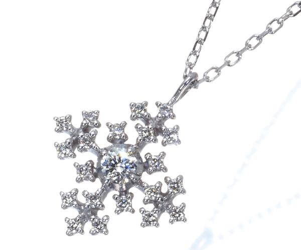 4℃ ヨンドシー ネックレス ダイヤモンド スノーフレーク K18WG