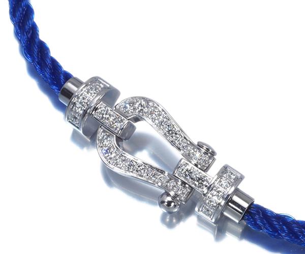 フレッド ブレスレット ダイヤモンド フォース10 MM テキスタイルケーブル ブルー 17刻印 K18WG/SS