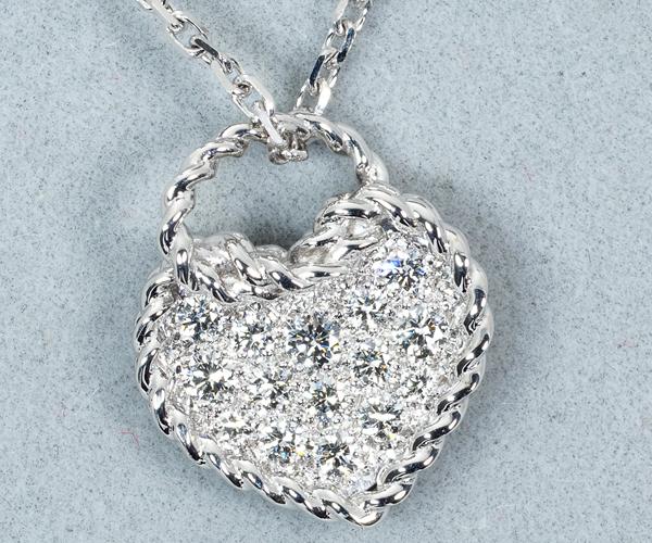 カルティエ ネックレス ダイヤモンド ハート パヴェ K18WG