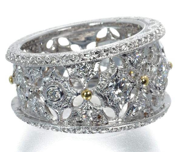 マルコバローニ リング ダイヤモンド 彫金 13号 K18WG/YG
