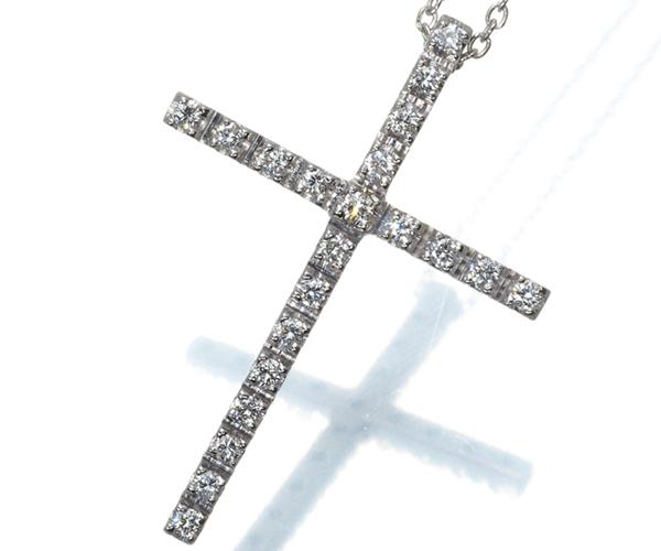 スタージュエリー ネックレス ダイヤモンド 0.20ct クロス K18WG