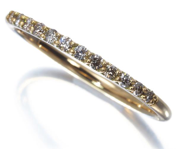 アーカー リング ダイヤモンド 0.12ct ドゥーズブリエ ハーフエタニティ 9号 K18YG
