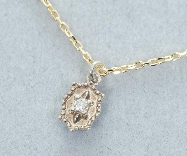 アガット ネックレス ダイヤモンド 0.01ct K10YG/シルバー