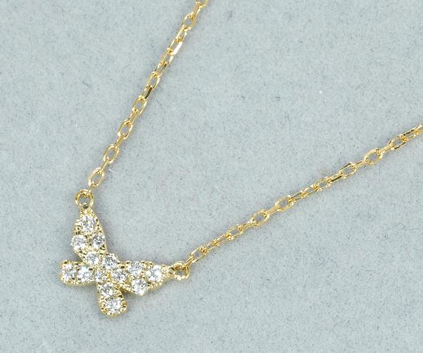 アーカー ネックレス ダイヤモンド バタフライ パヴェ K18YG