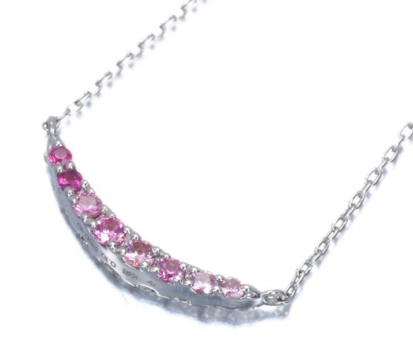 ポンテヴェキオ ネックレス ダイヤモンド 0.10ct ピンクサファイア 0.10ct リバーシブルデザイン K18WG