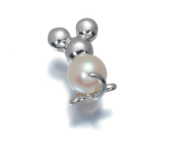 ポンテヴェキオ ピアス アコヤ真珠 パール ネズミ 片耳 K18WG