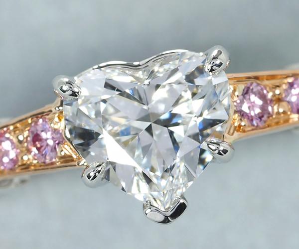 ハリーウィンストン リング ダイヤモンド 0.76ct D VVS2 トリスト ハート 9号 Pt950/K18PG