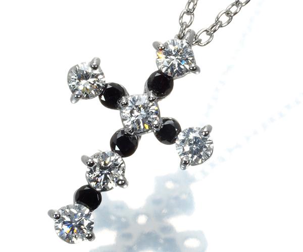 ポンテヴェキオ ネックレス ブラック&クリアダイヤモンド 0.5ct クロス K18WG