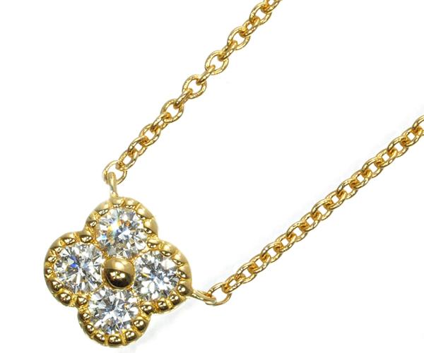 ポンテヴェキオ ネックレス ダイヤモンド 0.14ct フラワー K18YG