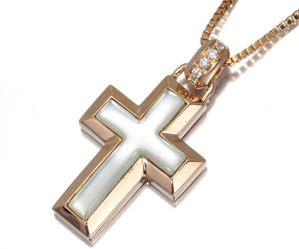ヴァンドーム ネックレス シェル ダイヤモンド クロス K18PG