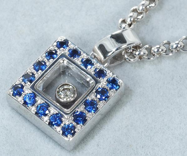 ショパール ネックレス ハッピーダイヤモンド サファイア スクエア K18WG