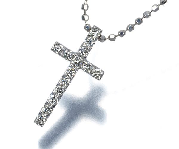 ヴァンドーム ネックレス ダイヤモンド 0.12ct クロス K18WG