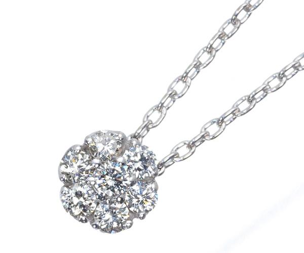 ポンテヴェキオ ネックレス ダイヤモンド 0.14ct フラワー K18WG