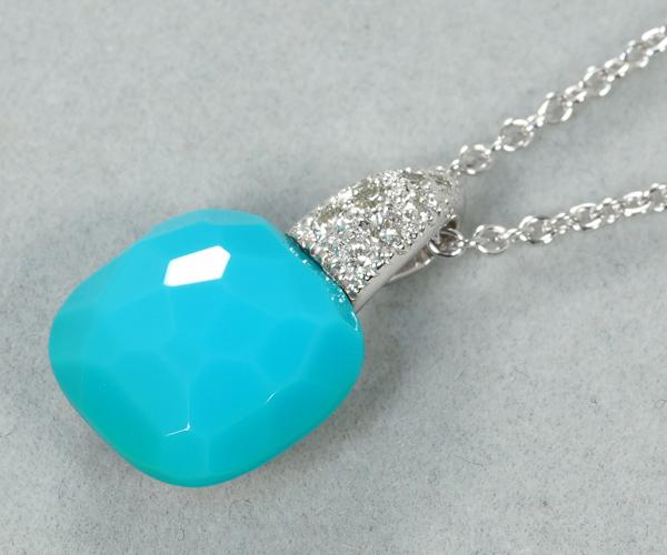 ポメラート ネックレス ターコイズ ダイヤモンド カプリ K18WG