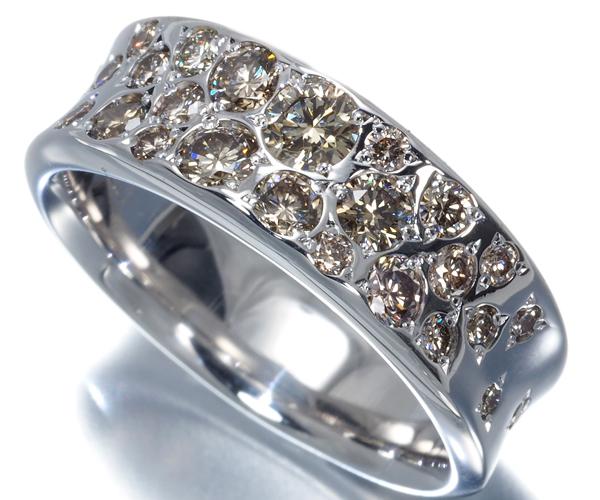カシケイ リング ダイヤモンド 1.00ct メランジェ 13号 K18WG