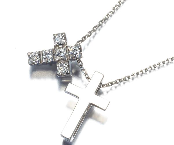 4℃ ヨンドシー ネックレス ダイヤモンド クロス Pt850