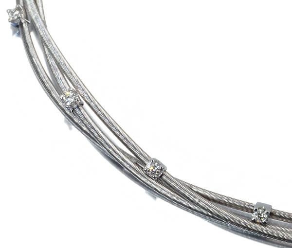 マルコビチェゴ ネックレス ダイヤ 3ロウ K18WG