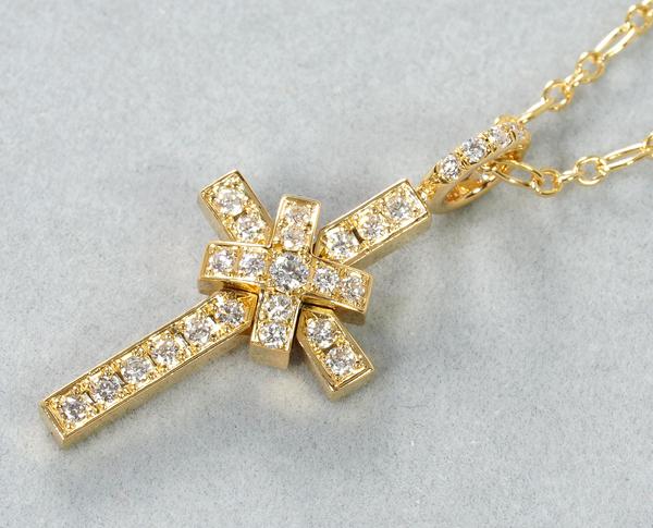 SJX ネックレス ダイヤ ダイヤモンド 0.33ct クロス 10th ANNIVERSARY K18YG