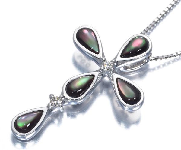 TASAKI タサキ ネックレス ブラックシェル ダイヤモンド クロス K18WG