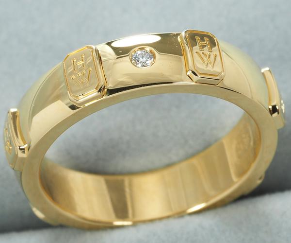 ハリーウィンストン リング ダイヤモンド HWロゴ 9号 K18YG