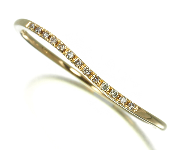 アガット リング ダイヤモンド 0.04ct カーブ 13号 K18YG