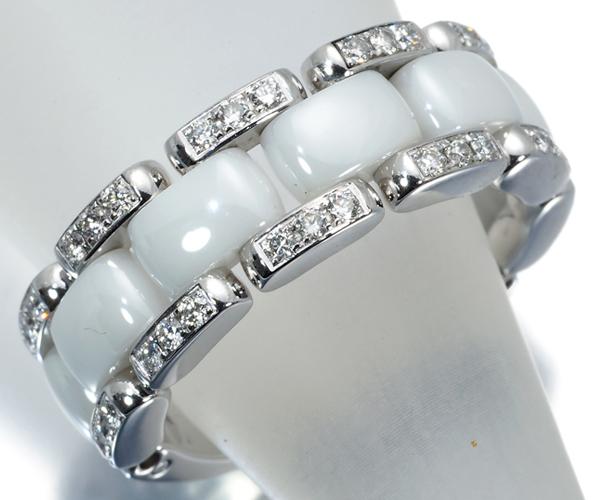 シャネル リング ダイヤモンド ウルトラ J12 ホワイト ミディアム K18WG/セラミック 50号