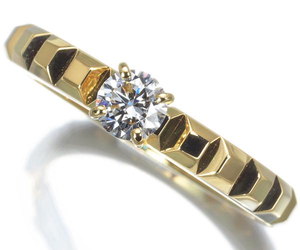 ブシュロン リング ダイヤモンド 0.23ct D VVS2 3EX ディアマン クルドパリ 50号 K18YG