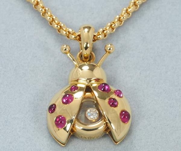 ショパール ネックレス ダイヤモンド ルビー ハッピーダイヤモンド テントウムシ K18YG