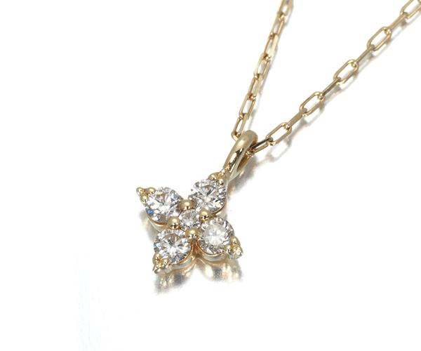 オデュース4℃ ネックレス ダイヤモンド K10YG