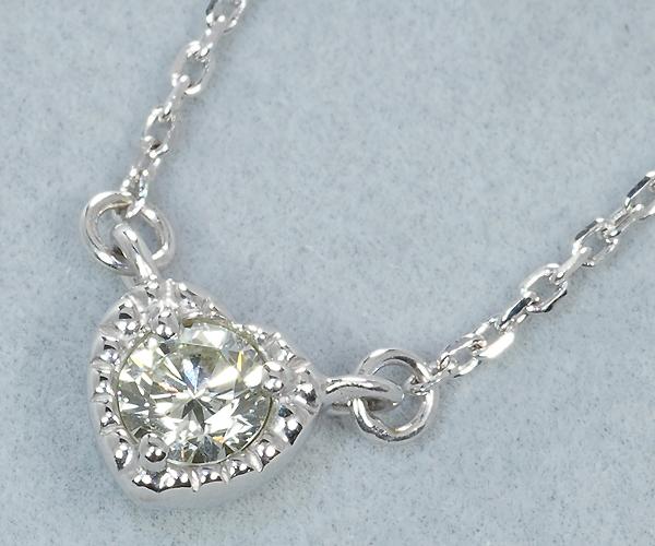4℃ ヨンドシー ネックレス ダイヤモンド 0.15ct程 ハート K18WG