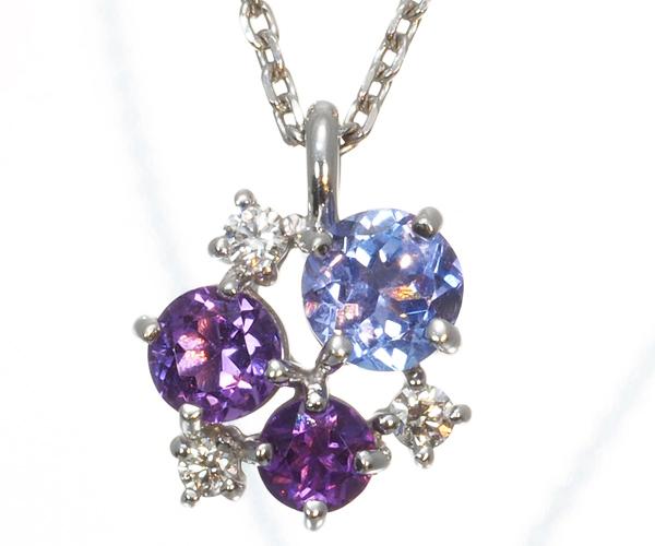 TASAKI タサキ ネックレス タンザナイト アメジスト ダイヤモンド K18WG