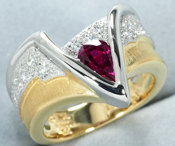 石川暢子 リング ルビー 0.91ct ダイヤモンド 0.14ct 11.5号 Pt900/K18YG