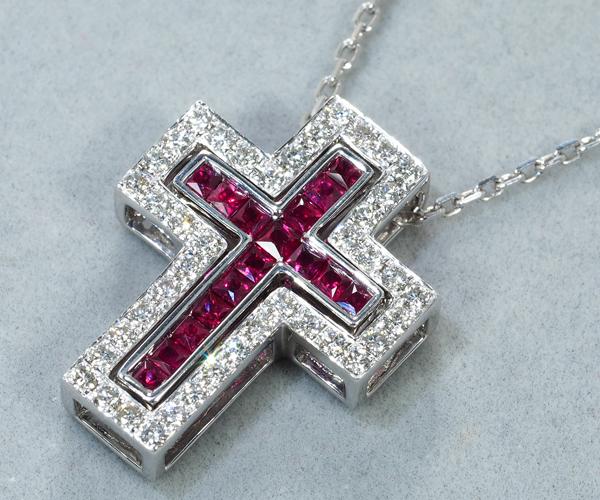 ポンテヴェキオ ネックレス ルビー ダイヤモンド 0.33ct クロス 3WAY K18WG