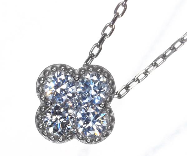 ポンテヴェキオ ネックレス ダイヤモンド 0.15ct クローバー フラワー K18WG