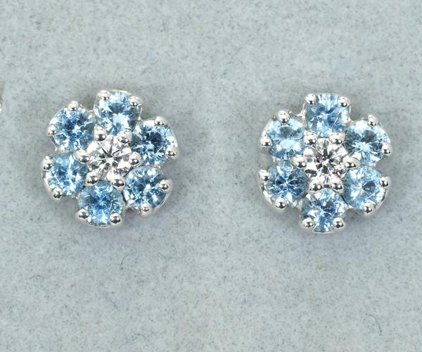 ポンテヴェキオ ピアス アクアマリン ダイヤモンド 0.01ct/0.01ct フラワー K18WG
