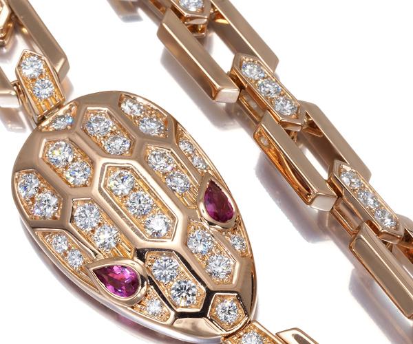 ブルガリ ネックレス ダイヤモンド トルマリン セルペンティ アニマル K18PG