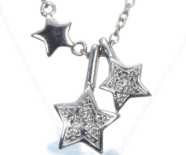 スタージュエリー ネックレス ダイヤモンド スター 星 K18WG