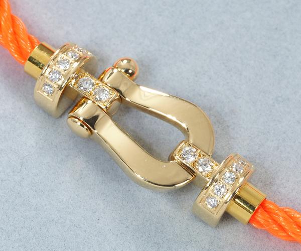 フレッド ブレスレット ダイヤモンド フォース10 MM オレンジ テキスタイルケーブル K18YG/SS