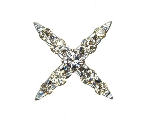 カシケイ ブローチ ダイヤモンド 0.20ct ネイキッド K18WG