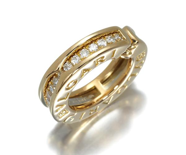 ブルガリ イヤリング ダイヤモンド ビーゼロワン B-ZERO1 ハーフダイヤモンド 片耳 K18YG
