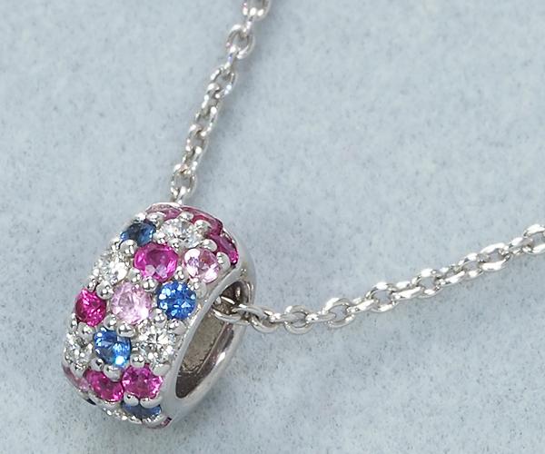 ポンテヴェキオ ネックレス ダイヤモンド サファイア 0.15ct ロトンド K18WG