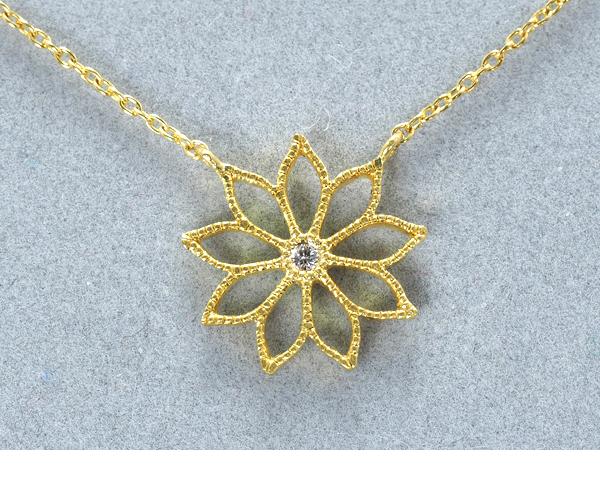 ハム ネックレス ダイヤモンド 花 フラワー K18YG