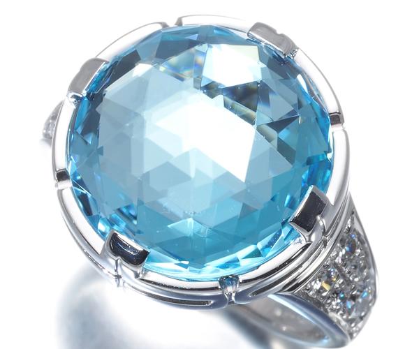 ブルガリ リング トパーズ ダイヤモンド カクテル 9号 K18WG