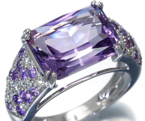 モーブッサン リング アメジスト ダイヤモンド 11号 K18WG