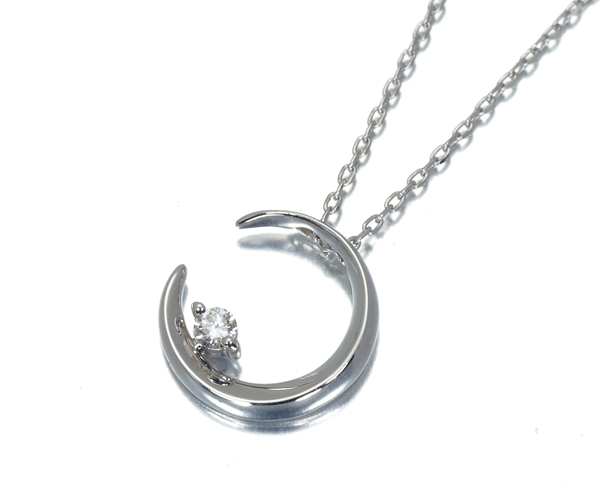 スタージュエリー ネックレス ダイヤモンド 0.02ct ムーン K18WG