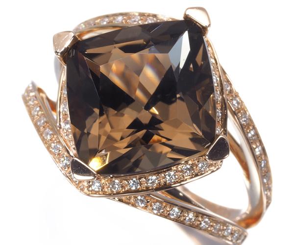 モーブッサン リング スモーキークォーツ ダイヤモンド 12号 K18PG