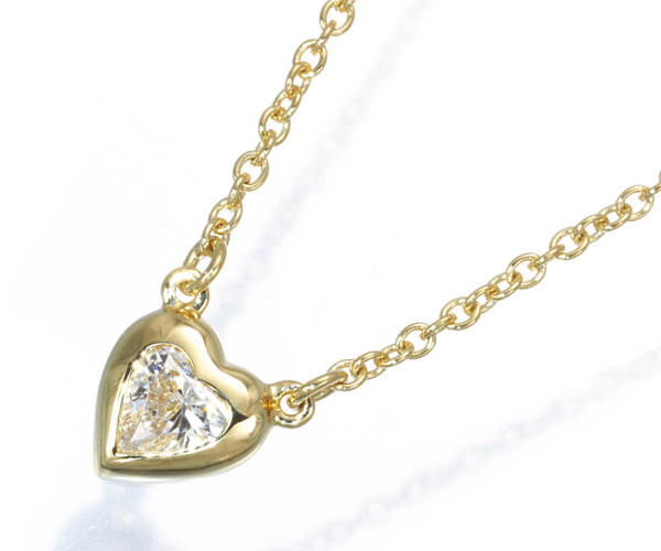 ティファニー ネックレス 一粒 ダイヤモンド バイザヤード ハートシェイプ K18YG