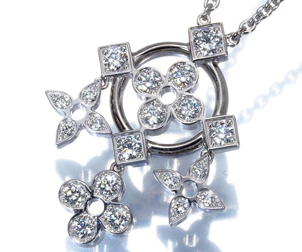 ルイヴィトン ネックレス ダイヤモンド パンダンティフ ダンテル ドゥ モノグラム K18WG